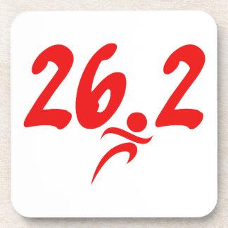 Red 26.2 marathon drink coaster