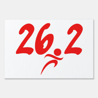 Red 26.2 marathon lawn sign