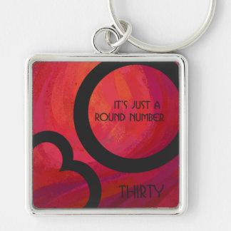 Red 30 Decade Birthday Keychain