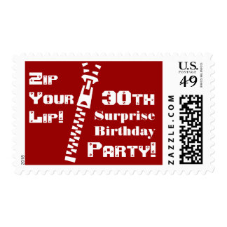 RED 30th SURPRISE Birthday Party - Zip Your Lip! Postage