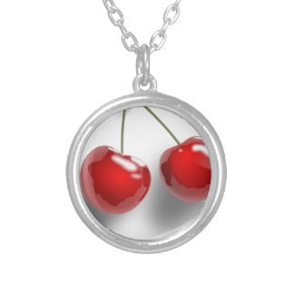 red-31484 red two food fruit cartoon cherries cher round pendant necklace
