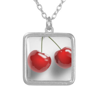 red-31484 red two food fruit cartoon cherries cher square pendant necklace