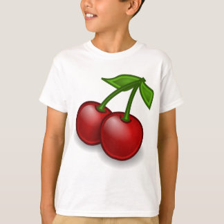 red-35288 CHERRIES CHERRY  red black fruit outline T-Shirt