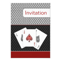red 3 aces vegas wedding invitation
