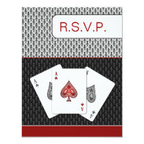 red 3 aces vegas wedding rsvp cards