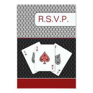 red 3 aces vegas wedding rsvp cards, 3.5 x 5 card