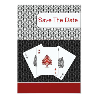 red 3 aces vegas wedding save the date card