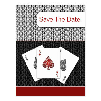 red 3 aces vegas wedding save the date post card