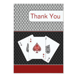 red 3 aces vegas wedding Thank You cards Invites
