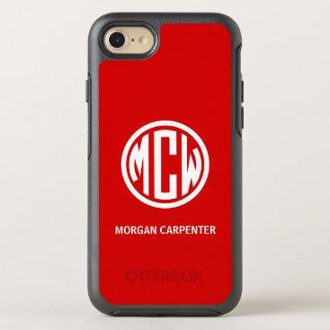 Red 3 Init White Circle Monogram Font DIY BG OtterBox Symmetry iPhone 8/7 Case