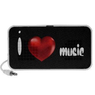 Red 3D Heart Black Doodle Speakers