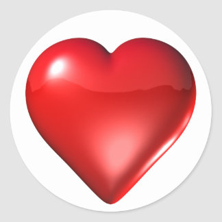 Red 3D Heart Classic Round Sticker