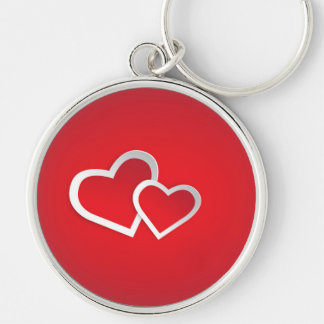 Red 3D Heart Round Key Chain