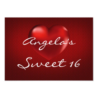 Red 3D Heart Sweet 16 Invitation