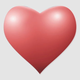 Red 3D Love-Heart Romantic Heart-shaped Stickers