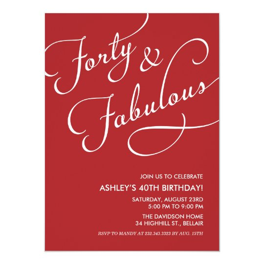 Red 40 and Fabulous Invitations