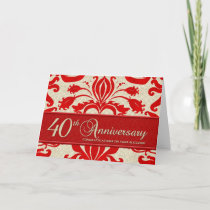 Red 40th Anniversary Business Greeting Card