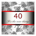 Red 40th Birthday Party Black Damask Invitation
