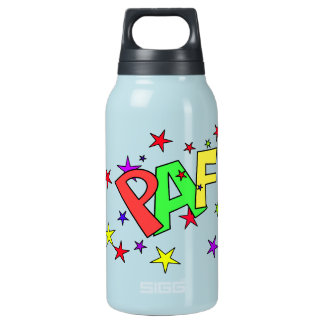 red-41991 CARTOON COMIC STARS PAF WORDS SHOUTOUTS 10 Oz Insulated SIGG Thermos Water Bottle