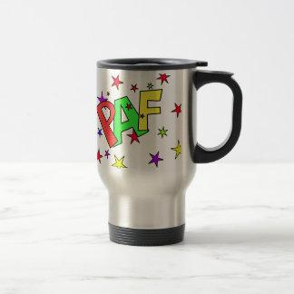 red-41991 CARTOON COMIC STARS PAF WORDS SHOUTOUTS 15 Oz Stainless Steel Travel Mug