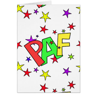 red-41991 CARTOON COMIC STARS PAF WORDS SHOUTOUTS Greeting Card