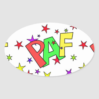 red-41991 CARTOON COMIC STARS PAF WORDS SHOUTOUTS Oval Sticker