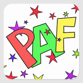 red-41991 CARTOON COMIC STARS PAF WORDS SHOUTOUTS Square Sticker