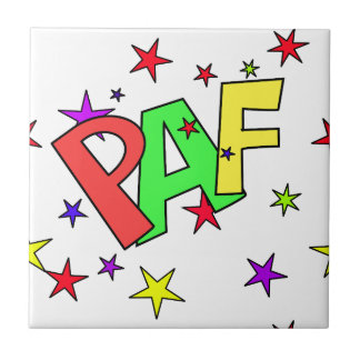 red-41991 CARTOON COMIC STARS PAF WORDS SHOUTOUTS Ceramic Tile