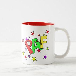 red-41991 CARTOON COMIC STARS PAF WORDS SHOUTOUTS Two-Tone Coffee Mug