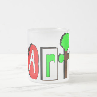 red-42477  red brown green tree cartoon color text frosted glass coffee mug