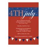 "Red 4th of July Invitation 5"" X 7"" Invitation Card"