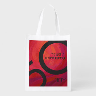 Red 50 Decade Birthday Reusable Grocery Bag