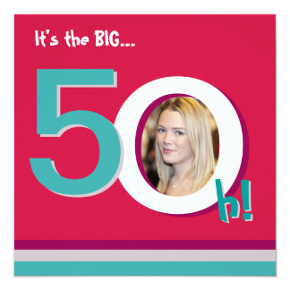 Red 50th Big 5-Oh! Photo Template Birthday Party Card