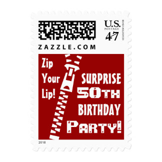 RED 50th SURPRISE Birthday Party - Zip Your Lip! Postage