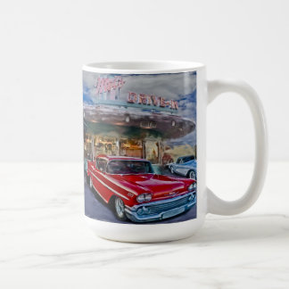 red 58 chevy at drive-in coffee mug