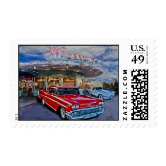 red 58 chevy at drive-in postage stamps