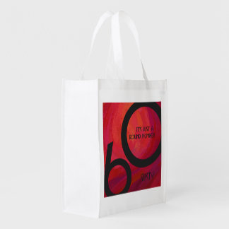 Red 60 Decade Birthday Grocery Bag