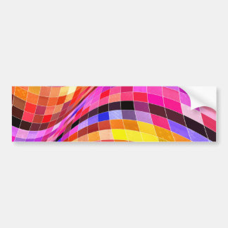 red-69291 ILLUSIONS WAVY SQUARES Red purple diamon Bumper Sticker