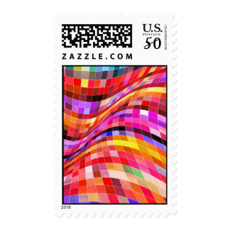 red-69291 ILLUSIONS WAVY SQUARES Red purple diamon Postage