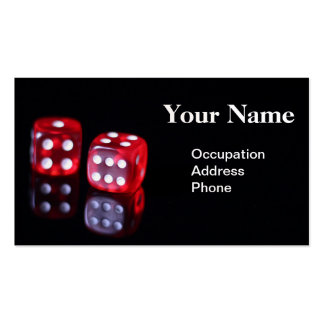 Red 6 sided poker dice business card