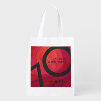 Red 70 Decade Birthday Reusable Grocery Bag