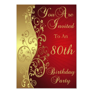 Red 80th Birthday Party Personalized Invitation