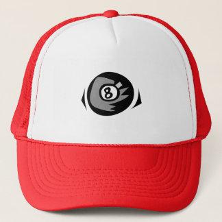 Red 8 ball trucker hat