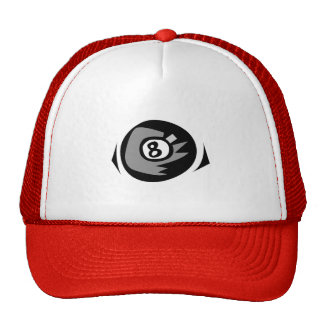 Red 8 ball trucker hat