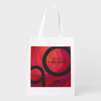 Red 90 Decade Birthday Grocery Bags