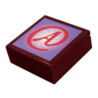 """Red """"A"""" on Purple Gift/Jewelry Box"""