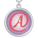 """Red """"A"""" on Purple Pendant Necklace"""