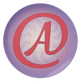 "Red ""A"" on Purple Plates"