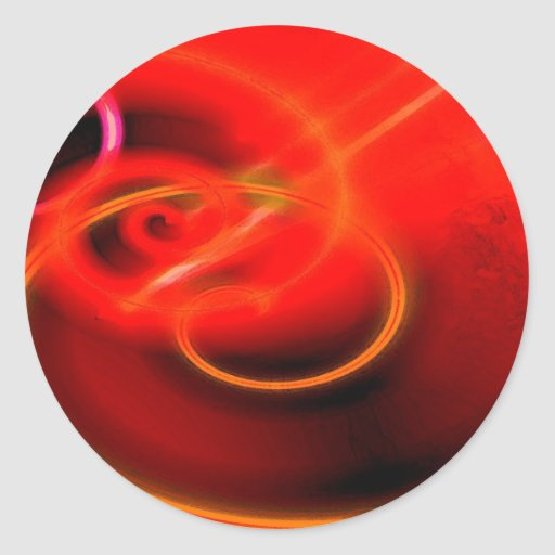 Red Abstract Art Digital Classic Round Sticker