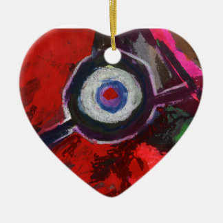 Red Abstract Art Heart Ornament